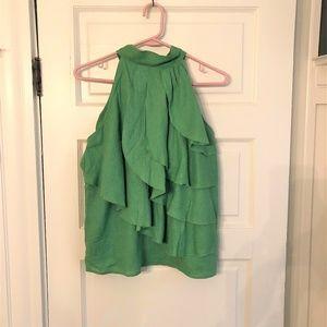 Cynthia Rowley green linen halter style top